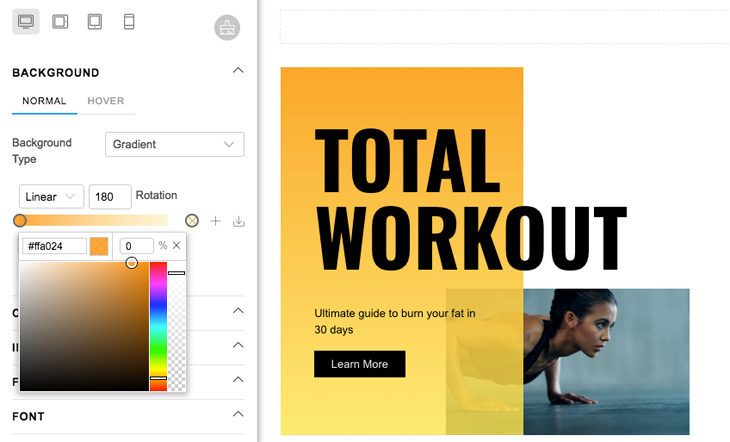 Themify New Feature Save Colour Gradient Swatch Tool WordPress Themes