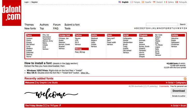 DaFont Screenshot Themify Custom Fonts
