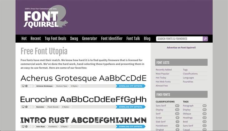 Font Squirrel Screenshot Themify Custom Fonts