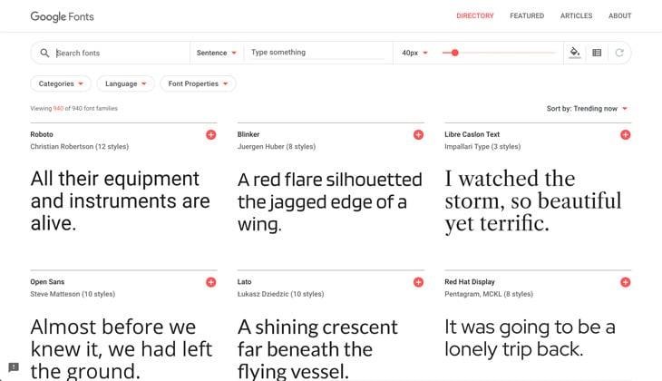 Google Fonts Screenshot Themify Custom Fonts