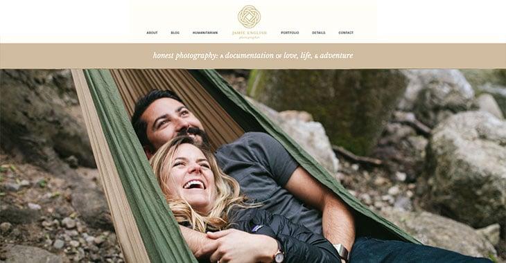 Jamie English WordPress Photography Themify Site screenshot