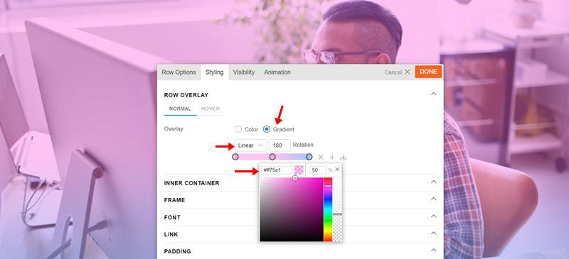 Background Image Row Overlay Styling