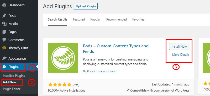 Pods Plugin Installation