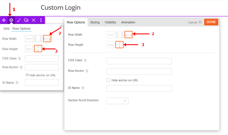 Custom Login Row Options