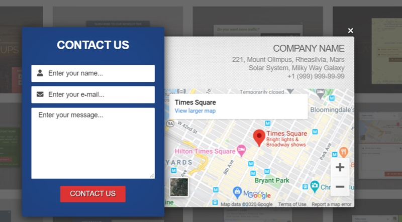 A Contact Us Popup Example