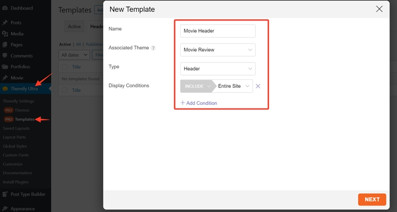 Creating the Header Template
