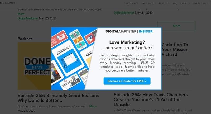Popup Example From DigitalMarketer