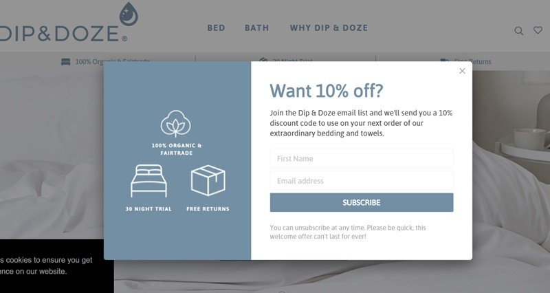 Popup Example From Dip and Doze