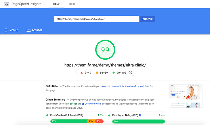 Clinic Pagespeed Score